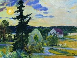 Вечерний пейзаж (Б.М. Кустодиев, 1917 г.)